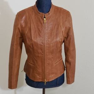 Lafayette 148 SZ 8P Moto Brown Leather Jacket